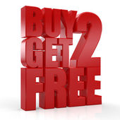 3D Buy 2 Get 2 Free text — Stock Photo