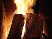 Wood Burning on Fireplace — Stock Photo