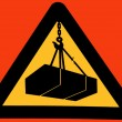 Stock Photo: Isolated Sign that warns of danger of suspended loads