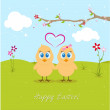 Easter chicken in love — Stock Photo