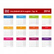 Stock Vector: Calendar 2014 English Type 10