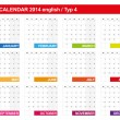 Calendar 2014 English Type 4 — Stock Vector