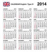 Calendar 2014 English Type 21 — Stock Vector