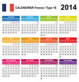 Calendar 2014 France Type 16 — Stock Vector