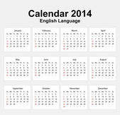 Calendar 2014 English Type 11 — Vettoriale Stock