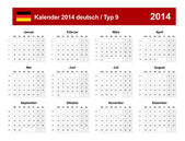 Calendar 2014 German Type 9 — Stock vektor