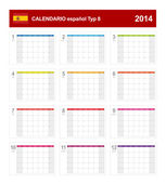 Calendar 2014 Spain Type 8 — Stock Vector