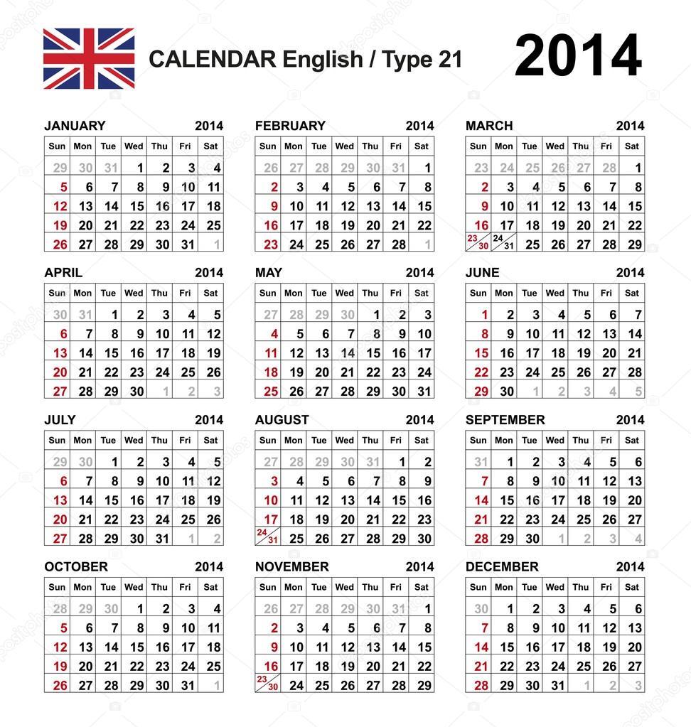 Calendar English : календаря  Стоковая иллюстрация
