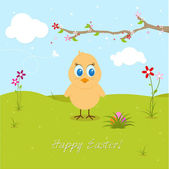 Easter Chicklet Searching Eggs — Stock Vector