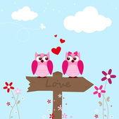 Buho rosa dos enamorados — Vector de stock