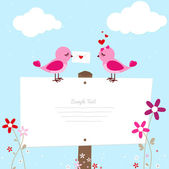 Pink Bird With Love Letter — Stock Vector