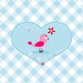 Pink Bird With Flower — Stock Vector