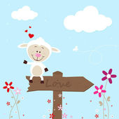 Lovely sheep on signboard — Stock Vector