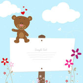 Lovely bear with signboard — Stock Vector