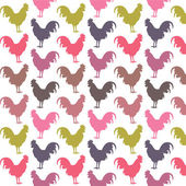 Colorful cock pattern — Stock Vector