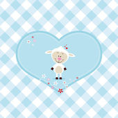 Lovely sheep in a big heart — Stock Vector