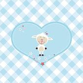 Bella pecora in un grande cuore — Vettoriale Stock