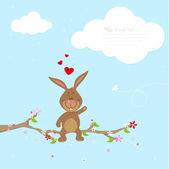 Lovely bunny in love — Stock Vector