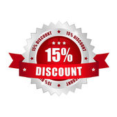 15 procent discount button — Stock Vector