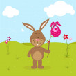 Lille bunny with pink bag - Stock Vector