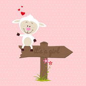 Little sheep with signboard — Stock Vector