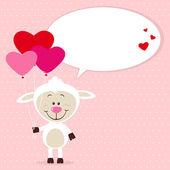 ハートの風船と小さな羊 — ストックベクタ