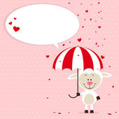 Little sheep with umbrella and flying hearts — Stock Vector