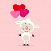 Little sheep with heart balloons — Stock Vector