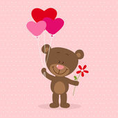 Little bear with heart balloons and flower — Stock Vector