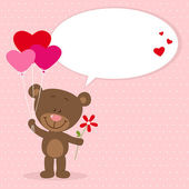 Little bear with heart balloons — Stockvektor