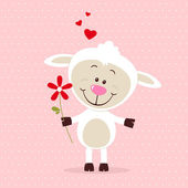 Little sheep in love — Stock Vector