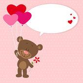 Flying little bear with heart balloons — Stock Vector