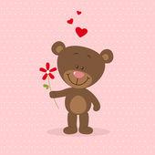 Little bear in love — Stock Vector