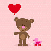 Little bear with heart balloon and toy — Stock Vector