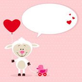 Little sheep with toy and heart balloon — Stock Vector