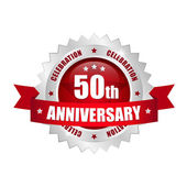 50th anniversary button — Stock Vector