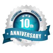 10th anniversary button — Stock Vector