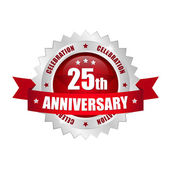 25th anniversary button — Stock Vector