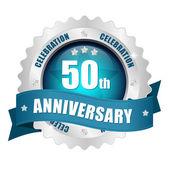 50th anniversary button — Stock Vector