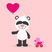 Little panda with red ballon — Stock Vector