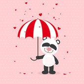 Little panda with umbrella — Stock Vector