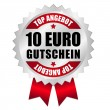 Stock Vector: 10 euro top offer web button