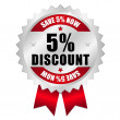5 percent discount web button — Stok Vektör #23457528