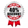 40 percent discount web button — Stock Vector