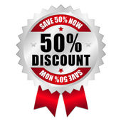 50 percent discount web button — Stock Vector