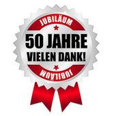 50 Jahre Jubiläum Button — Stock Vector