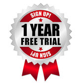 One year free trial web button — Stock Vector