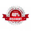 40 percent discount button - Stockvectorbeeld