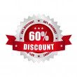 60 percent discount button - Stockvectorbeeld