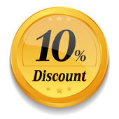 10 percent discount web button — Stock Vector